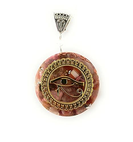 Colgante orgonita Ojo de Horus Protección energética Orgone Collar ágata cuarzo rosa Antiguo Egipto Idea de regalo