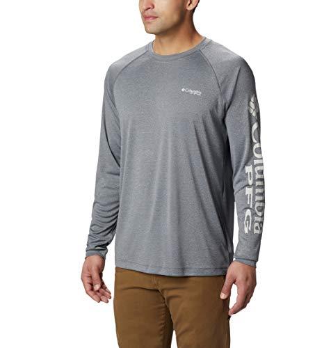 Columbia Men's Terminal Tackle Heather Long Sleeve Shirt, Charcoal HTHR/Cool Grey Logo, Large