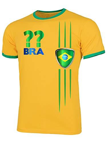 Brasilien Brazil Brasil Wunsch Zahl ohne Name Fan t Shirt Artikel 3212 Fuss Ball Welt Ringer Tee WM 2022 Trikot Look Flagge Fahne Männer Herren XL