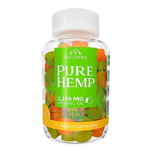 Tacanna Natural Hemp Gummies - Ultra Volume 2250Mg - 90pcs - Premium Hemp Extract - Relieve Stress, Pain and Anxiety - Omega 3 6 9 - Immune Boost Multivitamin
