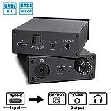 USB DAC Audio Converter Headphone Amplifier Type-C Port Digital to Analog Signal Audio Converter, 3.5MM Stereo Audio Optical Headphone Jack Output, Type-C Input