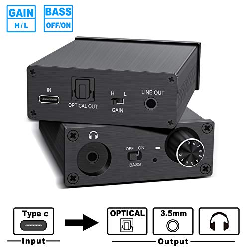 USB DAC Audio Converter Headphone Amplifier Type-C Port Digital to Analog Signal Audio Converter, 3.5MM Stereo Audio Optical Headphone Jack Output, Type-C Input
