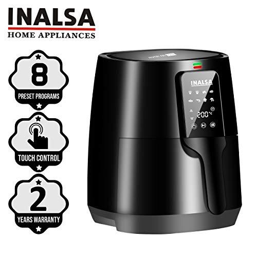 INALSA Nutri Fry-1400W Air Fryer Digital 4L,Smart AirCrisp Technology| 8-Preset, Touch Control & Digital Display| Variable Temp& Timer Control,(Black)