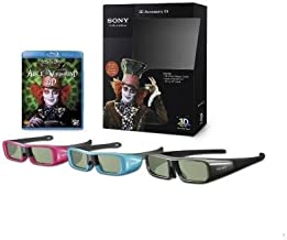 Sony 3D Accessory Kit with Alice in Wonderdland Blu-ray 3D Movie-3 pairs of 3D glasses