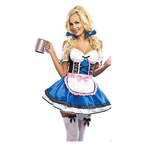 Cosplay Carnaval Oktoberfest Dirndl Costume Tavern Wench Stayress Maid Bar Outfit Cosplay Halloween Fancy Fiesta Vestido Traje mucama (Color : Blue, Size : XXL)