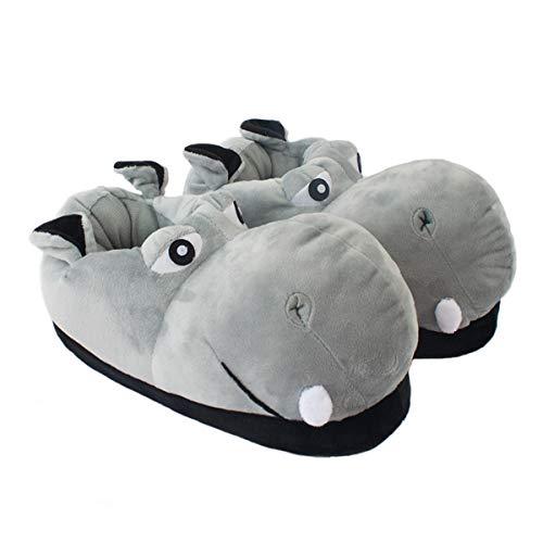 YuChen Zapatillas de algodón para Adultos y niños, Zapatillas de hipopótamo, Animales de Peluche (Gris, Numeric_38)