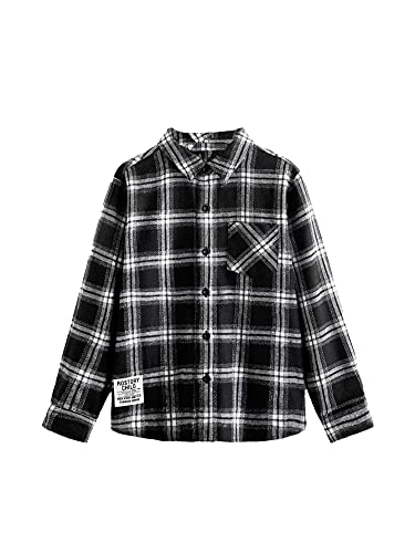 WDIRARA Boy's Plaid Button Front Long Sleeve Pocket Shirt Casual Collar Tops Black and White 7Y