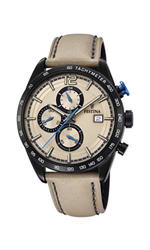 Festina Herren Chronograph Quarz Uhr mit Leder Armband F20344/1