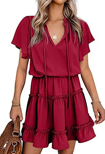 Selowin Women's Elegant Short Sleeve Ruffle Dress V Neck Waistband Dresses Ruby L