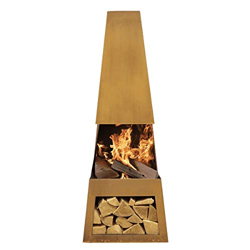 Dellonda Outdoor Chiminea Fireplace Fire Pit Heater Firewood Storage Corten Steel