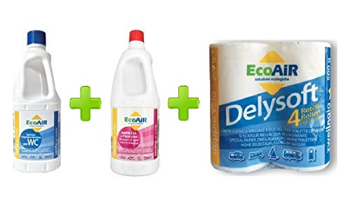 Bottiglia 1 LITRO DISGREGANTE Sanity + 1 LITRO PROFUMATORE RINSING + 4 Rotoli Carta IGIENICA per WC Toilette Camper - COMPARABILE Aqua KEM E Aqua Rinse