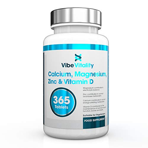 Calcium, Magnesium, Zinc & Vitamin D Supplement 365 Vegetarian Tablets (6 Months Supply) Made in The UK