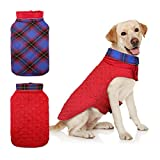 DENTRUN Dog Jacket Cold Weather Pet Apparel Winter Warm Coat Windproof Waterproof Reversible British Style Plaid Vest Christmas Suit for Small Medium Large Dogs(S-XXXL)