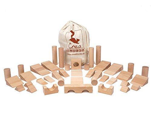 CreaBLOCKS Holzbausteine Spezialergänzungspaket Säulen, Keile und Brücken (40 unbehandelte Bauklötze) (im Baumwollbeutel) Made in Germany
