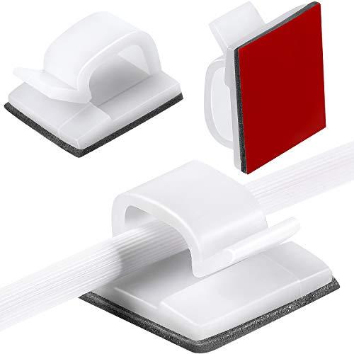 60 Stücke Mini Outdoor Kabel Clips mit Klebebändern Lichtclips Dekoration Clips Selbstklebende Haken Draht Halter für Lichterketten (Weiß)