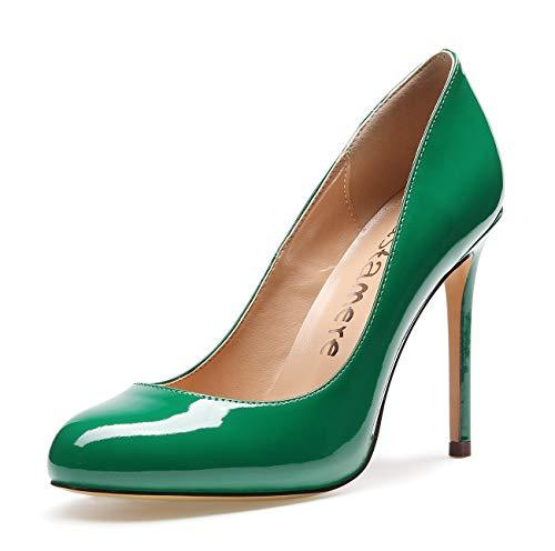 CASTAMERE Damen High Heels Runde Zehen Elegant Partie Pumps Stilettos 10CM Lackleder Grün Schuhe EU 41