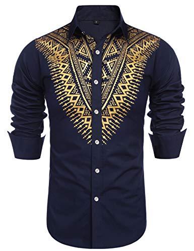 Daupanzees Mens Dashiki African Dress Shirt Casual...