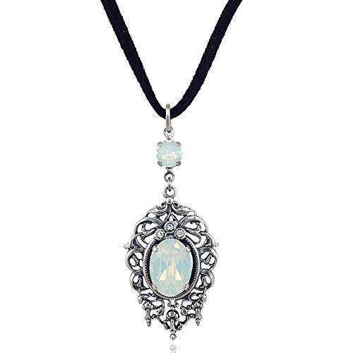 nobel-schmuck Jugendstil Kette mit Kristallen von Swarovski Silber White Opal Halskette