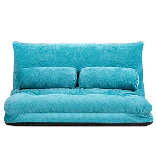 Giantex Adjustable Floor Sofa Couch with 2 Pillows, Multi-Functional 6-Position Foldable Lazy Sofa Sleeper Bed, Multi-Functional Suede Floor Seating Sofa for Reading Gaming (Blue)