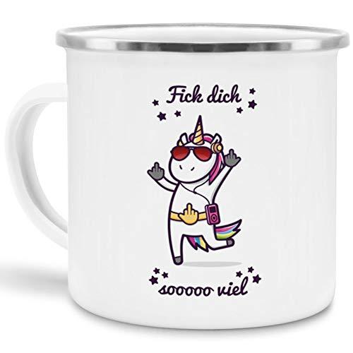Tassendruck Emaille-Tasse mit Einhorn Fick Dich sooo viel - Unicorn/mit Spruch/Edelstahl-Becher/Metall-Tasse/Comic/Witzig