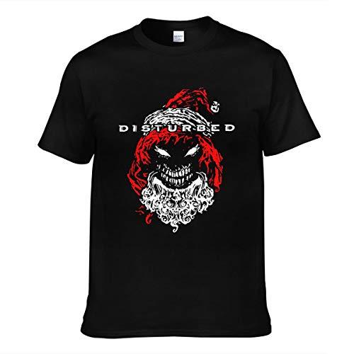Herren Disturbed Logo Tee Shirts Sommer Bekleidung T Shirt Kurzärmlig Rundhalsausschnitt Black 3XL T-Shirt Für Männer