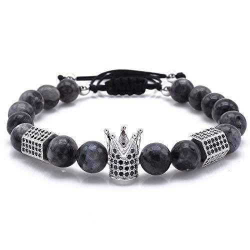 VFJLR Bracelet Nouveau Design à la Mode Couronne impériale hexagone Charms Bracelets Hommes Pierre Naturelle Perles Légères pour Femmes Hommes Tressage Bracelets en Macramé Argent