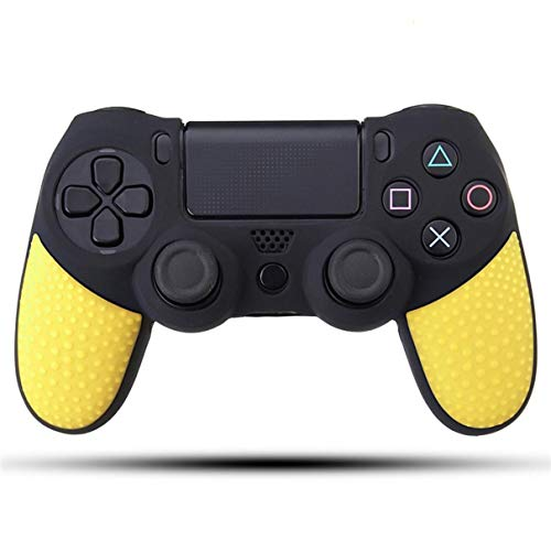 Skins4u Silikon Schutzhülle Case Skin Grip kompatibel mit Playsation 4 PS4 Controller Black Yellow