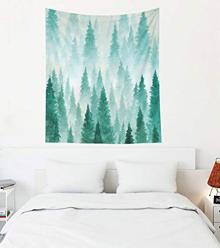 EMMTEEY Rose Gold Marble Tapestry,Tapestries Décor Living Room Bedroom for Home Inhouse by Printed 50x60 Inches for Background Painted with Watercolor Hand Drawn Landscape of Foggy Forest Winter