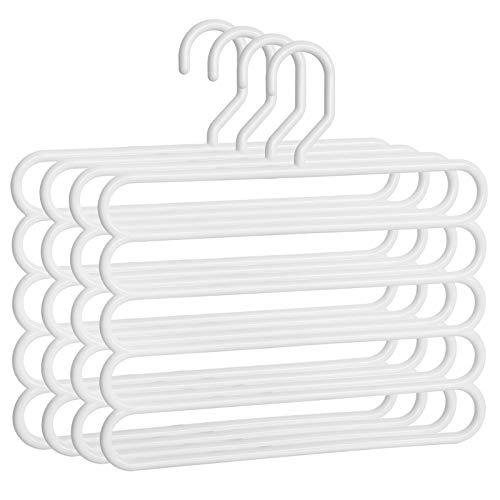 SONGMICS Set di 4 Grucce per Pantaloni Salvaspazio, Grucce Multiple in Plastica, Durevoli e Resistenti, per Vestiti Sciarpe Cravatte Asciugamani, Bianco CRP051W4