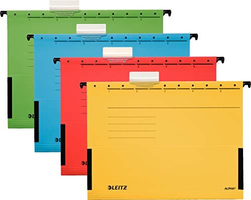 Leitz Hängetasche A4 Alpha (20er Pack, 4 Farben Sortiert) je 5x rot, grün, blau und gelb
