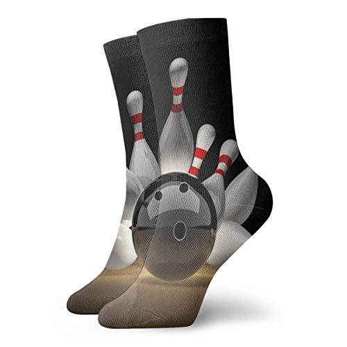 huatongxin Schöne Bowling-Socken für Erwachsene, Baumwolle, lustige kurze Socken für Yoga, Wandern, Radfahren, Laufen, Fußball, Sport