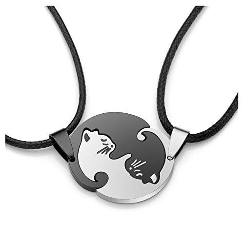 JSDDE Schmuck Edelstahl Pärchen Halskette mit Katze Anhänger Paar Kette Tai Chi Yin und Yang Puzzle Parnterketten (Weiß&Schwarz Anhänger Kette-ohne Gravur)