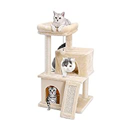 Eono by Amazon Katzenbaum Kratzbaum Kratzbäume Katzenmöbel mit Sisal-Seil Plüsch Liege höhlen Spielhaus Spielzeug für Katzen Grau