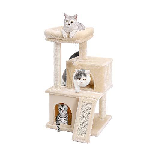 Amazon Brand – Eono Katzenbaum Kratzbaum Kratzbäume Katzenmöbel mit Sisal-Seil Plüsch Liege höhlen Spielhaus Spielzeug für Katzen Beige