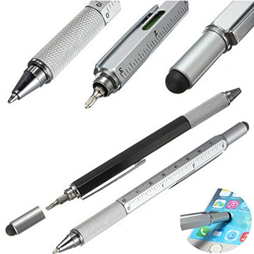 5-in-1 Touch Stylus Kugelschreiber mit Wasserwaage Lineal Schraubendreher Werkzeug für Smartphone Tablets, iPad iPhone, iPod, Samsung LG, Sony etc.