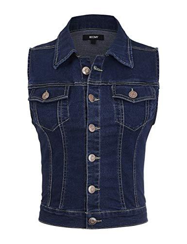 Fashion Boomy chaleco vaquero sin mangas para mujer – tallas regulares y grandes - Azul - Small
