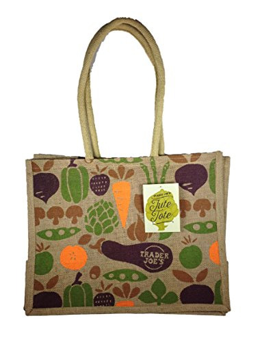Trader Joe's 100% Jute and Cotton Tote Bag 'Fruits and Veggies' Grocery, Beach, Shopping, Travel
