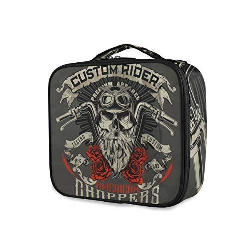 Toiletry Pouch Makeup Bag Portable Travel Cute Biker Skull Rider Tools Estuche de tren cosmético Almacenamiento