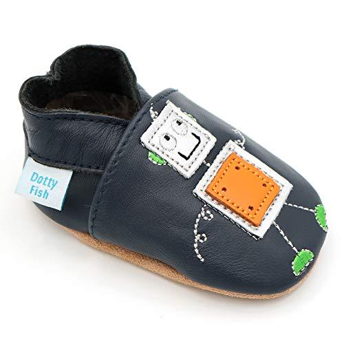 Dotty Fish weiche Leder Babyschuhe mit rutschfesten Wildledersohlen. 18-24 Monate (23 EU). Navy Schuh mit Roboter-Design. Silber und Orange. Jungen und Mädchen. Kleinkind Schuhe.