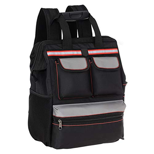 Qiming Portable Tool Bag Mochila portátil Bolsa Multifuncional Herramienta portátil Bolsa de Almacenamiento Bolsa de Herramientas Multiuso Hardware Kit (Color : Black, Size : 35 * 15 * 42cm)