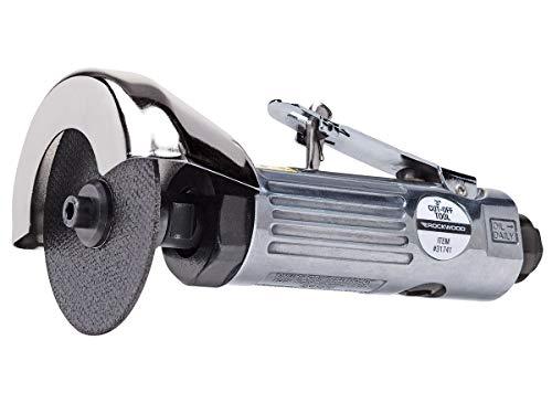 Rockwood 3 in. Air Cut Off Tool Pneumatic with Wheel Grinder Sheet Metal Cutter Heavy Duty Reversible Air Utility Power Metal Cut Off Tool Kit Air Push Metal Cutting Tool