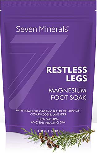New Restless Legs Magnesium Chloride Flakes 3lb – Absorbs Better than Epsom Salt - Unique Foot Soak Formula For RLS Syndrome and Leg Cramps Treatment - With USDA Organic Orange, Cedarwood & Lavender