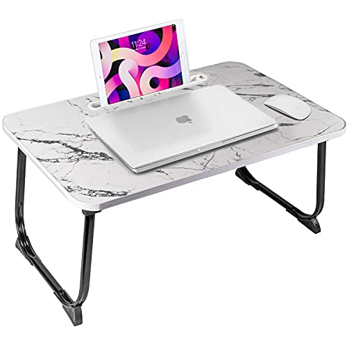 CHEFAN Lap Desk Bed Table Tray for Eating Writing Foldable Desk with iPad Slots for Adults/Students/Kids