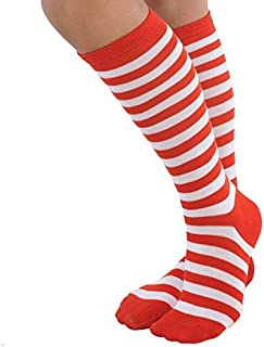 Red/White Striped Socks   Goofy and Fun Costume   Adult