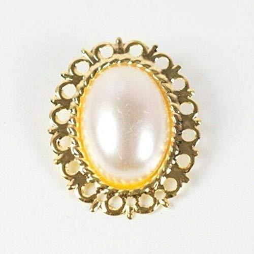 Brosche im Vintage-Stil mit Perlen in goldfarbenem Gehäuse – Kostüme, Kleider, Basteln 50 50