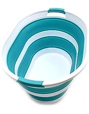 SAMMART Opvouwbare wasmand van kunststof, ovale kuip, mand, opvouwbare opbergcontainer/organizer, draagbare wasbak, ruimtebesparende wasmand
