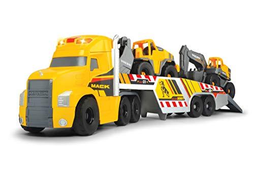 Dickie Toys Volvo Heavy Mack Truck, großer LKW mit 2 Volvo Fahrzeugen auf Anhänger, Bagger & Radlader, Anhänger zum Abkoppeln, Licht & Sound, inkl. Batterien, 70 cm groß, gelb