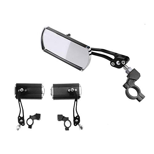 Bestine, 1 coppia di specchietti retrovisori in alluminio con rotazione a 360° per mountain bike e scooter, specchietto retrovisore retrovisore per manubrio grandangolare, Bambino, Nero