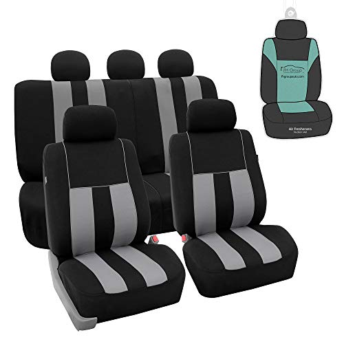FH Group Light & Breezy Gray/Black Cloth Seat Cover Sets
