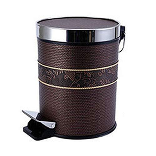 SHYPwM Papelera de acero inoxidable Papelera de plástico Cesta de papel Papelera for el hogar Interior y exterior Oficina Papelera de reciclaje circular for basura 15L (Color : Brown)